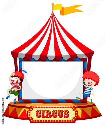 Circus tent with clowns frame\