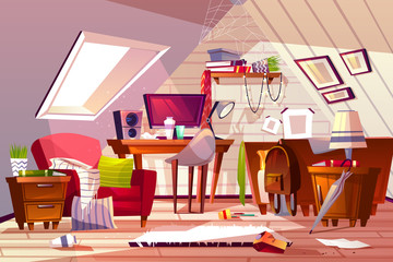 Messy room interior vector illustration. Cartoon garret or attic flat in clutter. Girl bedroom or living room thins in chaos, dust on furniture and scattered clothes on chair and bed or web in corner
