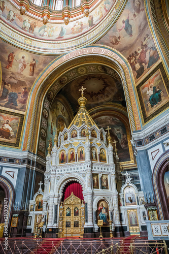 Interior In Cathedral Of Christ The Savior In Moscow Russia