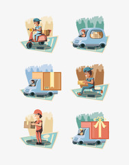 couriers delivery service characters vector illustration design