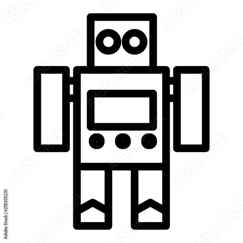 Robot toy line icon  Cyborg vector illustration isolated on
