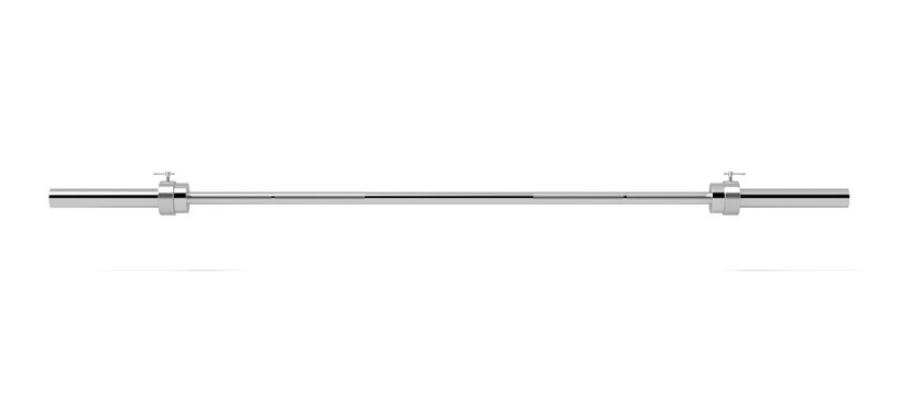 3d rendering of a single metal barbell without any weights hanging horizontally on a white background.