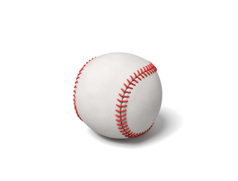 3d rendering of a single white baseball with red stitching throwing a shadow on a white background.