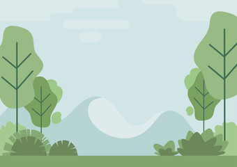 Weather, landscape in a minimalist style. Autumn, spring, summer, all these seasons are described in this picture. Vector image of trees, weather, snowy mountains.