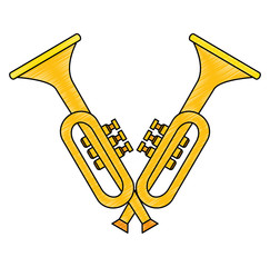 trumpets crossed instruments musical icon