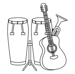 bongo drums with guitar and trumpet instruments