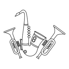 saxophone and trumpets musical instruments