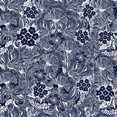 Seamless pattern with complex vintage line flowers