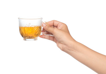 hand holding a cup of tea isolated on white background