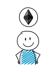 Hand drawn cryptocurrency icon - etherum with stickman. Vector.