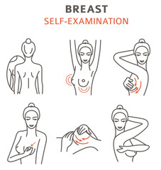Breast cancer, medical infographic. Self - examination. Women`s health set.