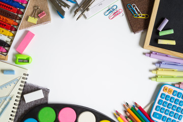 Back to school, education and  office work background concept. School supplies, stationery accessories on White background. Top view with copy space.