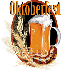 beer mug with ears of corn, and snacks on a black background. Oktoberfest