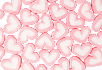 sweet heart shape of marshmallow isolated on white background.