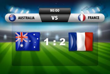 Australia VS France scoreboard