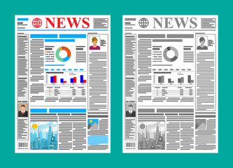 Daily newspaper in color and black and white. News journal design. Pages with various headlines, images, quotes, text and articles. Media, journalism and press. Vector illustration in flat style.