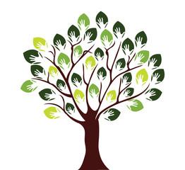 Human hands in tree Illustration
