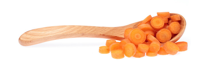 wood ladle with slice carrot isolated on white background.