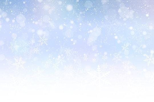 丸いボケと雪の結晶の背景