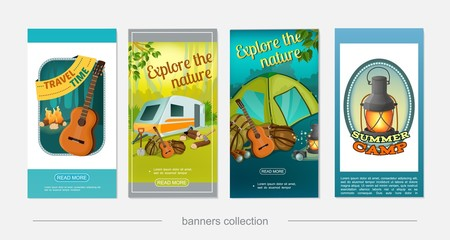 Cartoon Colorful Camping Vertical Banners