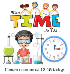 A boy learn science at 12:15