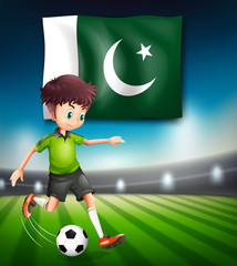 Pakistan flag and soccer player