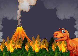 A dinosaur run away from volcano eruption