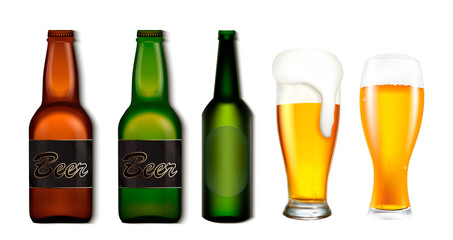 Set of bottles and glasses with beer