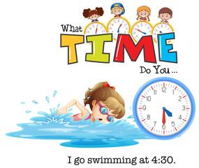 A girl go swim at 4:30