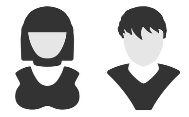 Men and women user avatar profile symbol. Vector black and white icons.