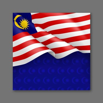 Malaysian patriotic festive background with national colors. Realistic waving malaysian flag on blue background. Malaysia republic day vector card with empty space. Independence and freedom concept