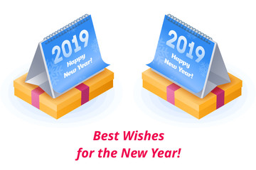 Best and sincere wishes and congrats happy New Year. The calendar with 2019 number on the Gift in a festive box with a red ribbon. The New Year congrats flat vector isometric concept illustration.