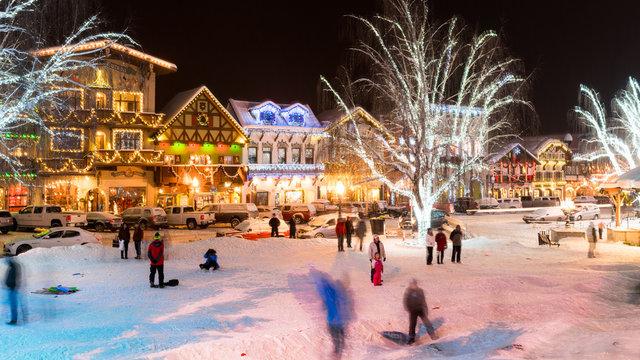 Leavenworth, WA Winter Night Scene
