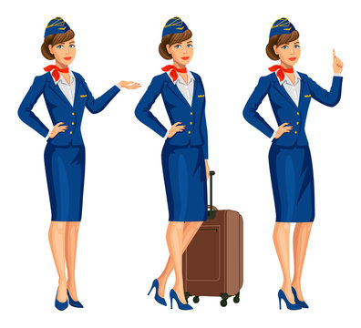 Stewardess in blue uniform. Flying attendants, air hostess. Profession stewardess, cartoon character. Vector illustration.