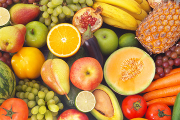 Mixed fresh colorful fruits and vegetables as healthy and natural food