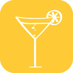 Handgezeichneter Cocktail auf gelbem Hintergrund