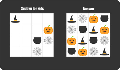 Sudoku game with halloween pictures (cobweb, pumpkin) for children, easy level, education game for kids, preschool worksheet activity, task for the development of logical thinking, vector illustration