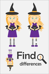 Find 3 differences, halloween game for children, witch in cartoon style, education game for kids, preschool worksheet activity, task for the development of logical thinking, vector illustration