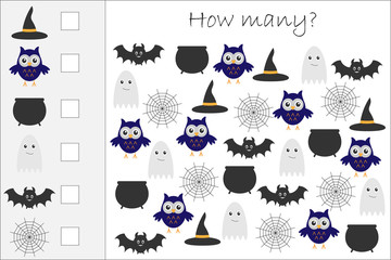 How many counting game with halloween pictures for kids, educational maths task for the development of logical thinking, preschool worksheet activity, count and write the result, vector illustration