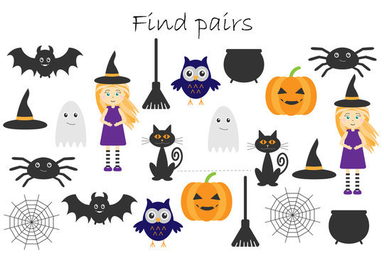 Find pairs of identical pictures, fun education game with halloween theme for children, preschool worksheet activity for kids, task for the development of logical thinking, vector illustration