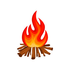 Burning bonfire with wood, camping fire vector Illustration on a white background