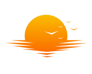 Sunset or sunrise icon, sign, symbol. Vector illustration
