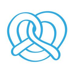 Handgezeichnete Brezel in blau