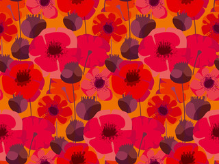 Decorative red poppy floral repeatable motif .