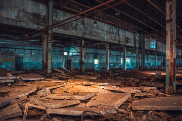 Abandoned ruins of industrial factory building, corridor view with perspective and light, ruins and demolition concept Fototapete