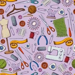 Seamless pattern of tools for needlework and sewing. Handmade equipment and needlework accessoriesy, sketch illustration. Vector