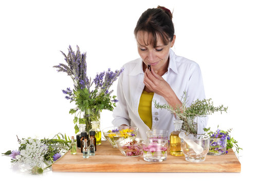woman and essential oils