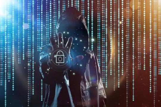Unrecognizable hacker portrait, security and technology crime concept .