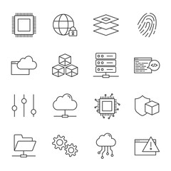 Computer science vector icons set, outline style