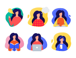 Speaking, thinking, writing, reading, working on a laptop, listening women illustrations